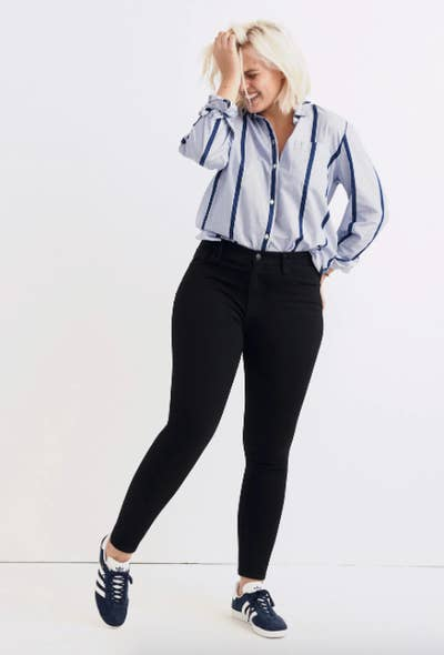 ebc3f05b51a50 High-waisted Madewell skinny jeans made from a stretchy denim material that  is *gasp* even comfier than your leggings. Sounds blasphemous, but I  promise ...