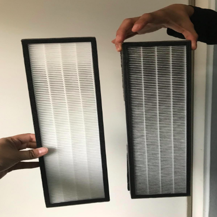 The filter before and after, showing all the particles it picked up