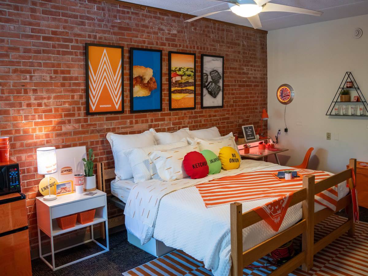 In 2017 Enrique Alcoreza decorated his resident hall at Trinity University with handmade Whataburger decor. The company rewarded his passion with a full-on Whataburger decorated dorm room.