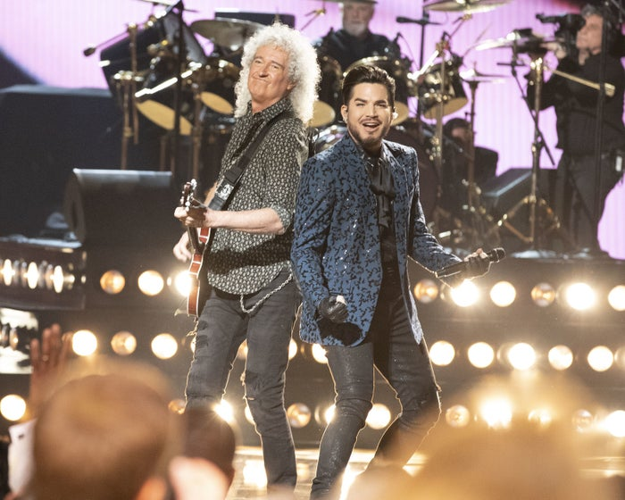 (Yes, that's Adam Lambert playing with Brian May — in case you missed it, he's been touring with the band since 2009!)