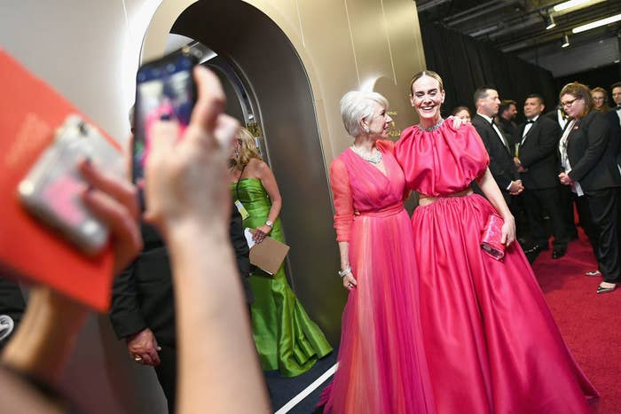 """For the record, the Pantone color of the year is """"Living Coral,"""" which is just a few shades off from what we saw on the red carpet tonight."""