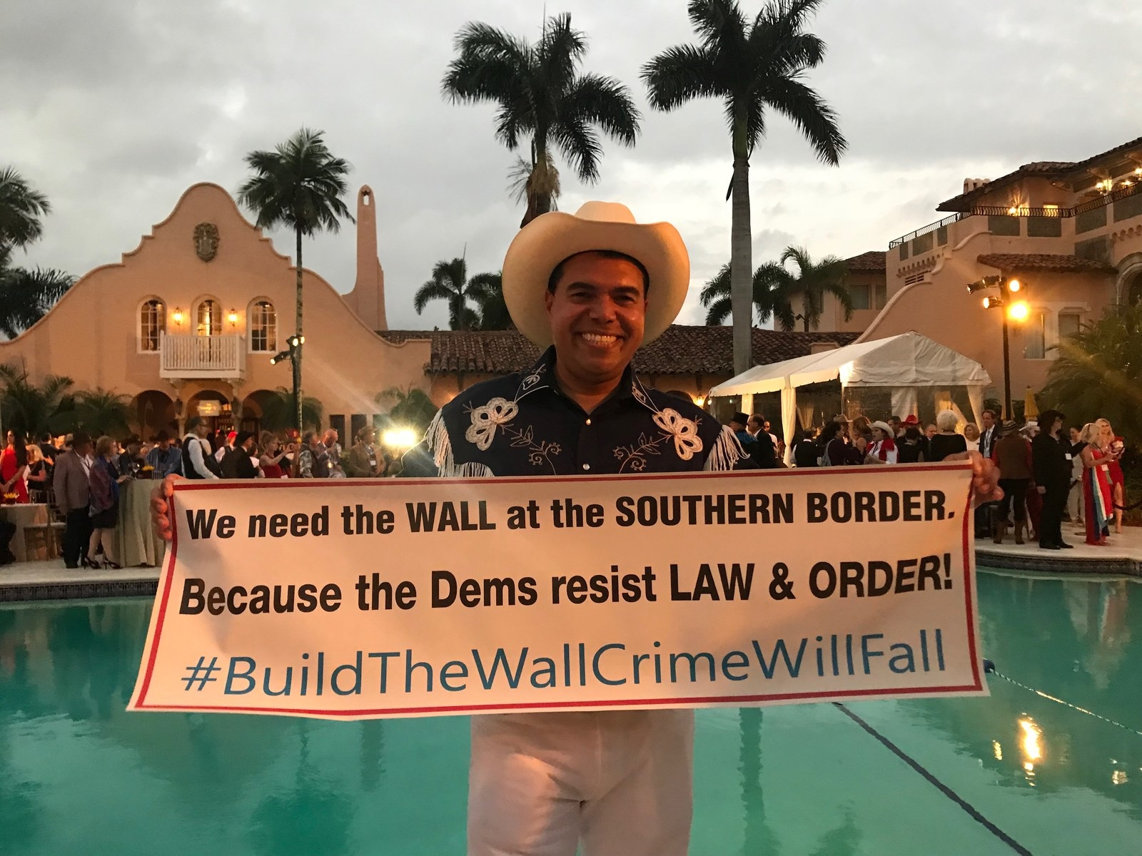 A supporter poolside at the Mar-a-Lago event, Feb. 23.