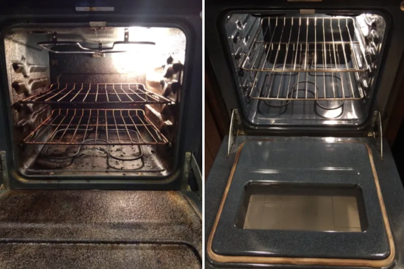 Reviewer before and after pic of a really dirty oven and then a super spotless one after using the cleaner