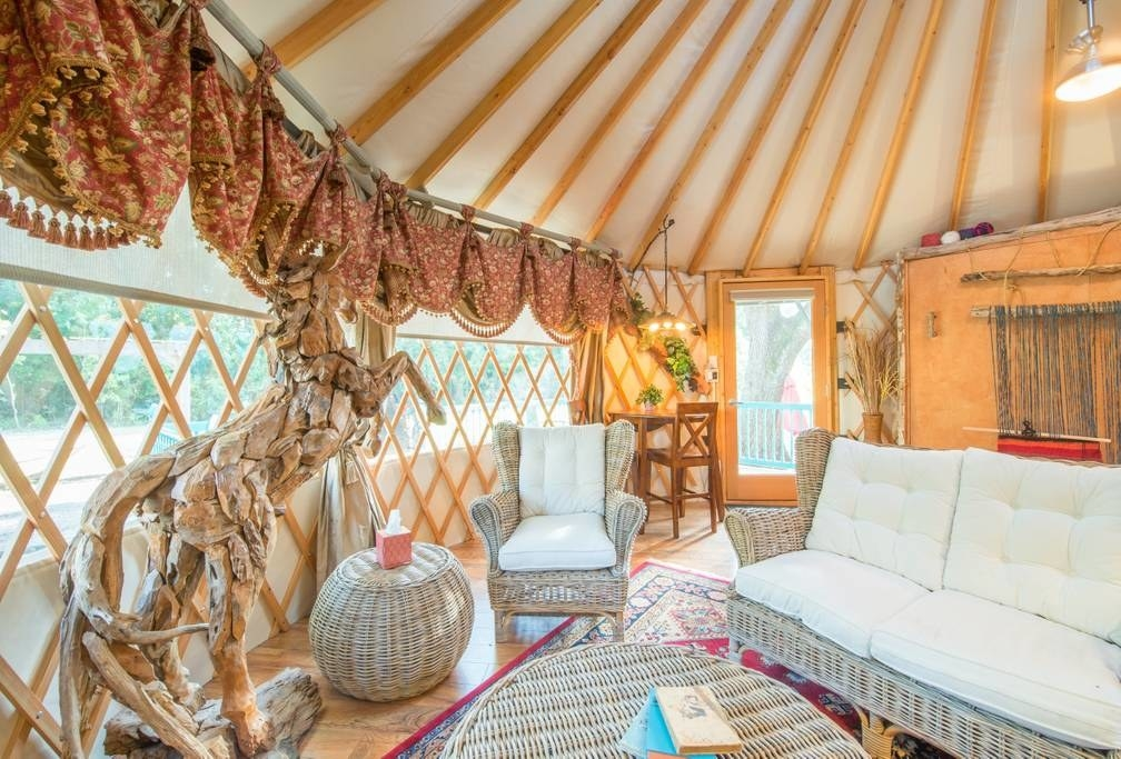 If a glamping trip sounds up your alley, consider this chic yurt located about 30 minutes north of Orlando. Day trip to Disney, anyone? See the listing here.