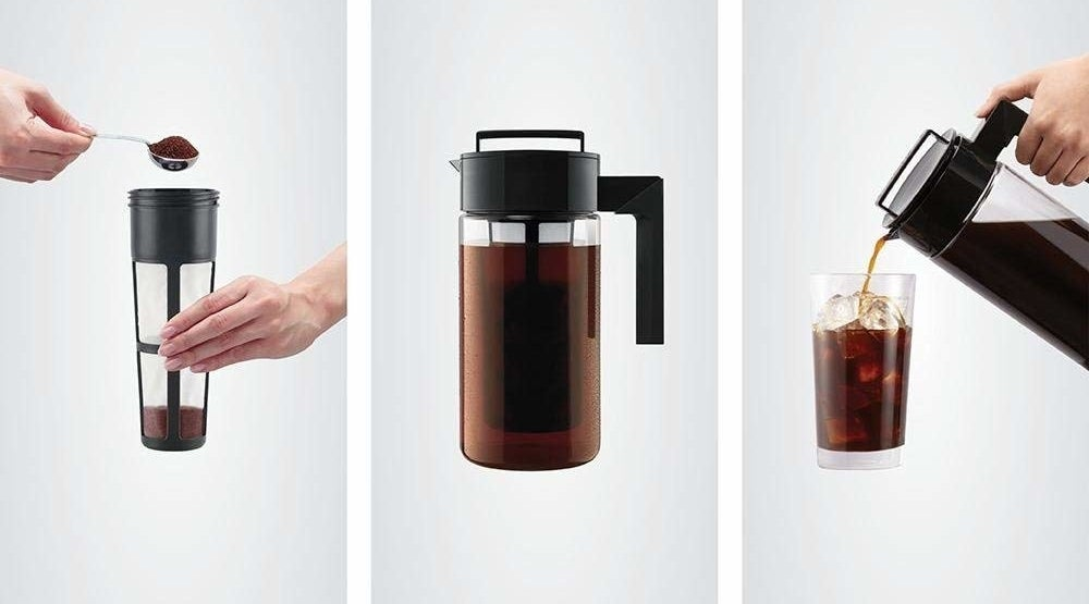 three panels with hands filling the iced coffee maker with grounds, the maker steeping, and the finished coffee being poured into a glass