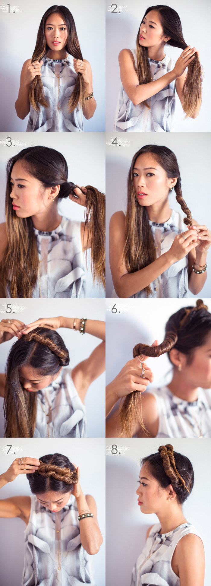 Aimee Song showing an eight step process of twisting her damp hair into an an updo