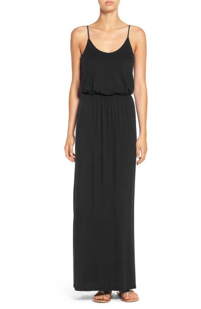 e5631f666acac A knit maxi dress with over a thousand positive reviews on Nordstrom. No  small feat! Plus, this pretty little number has adjustable straps that let  you ...
