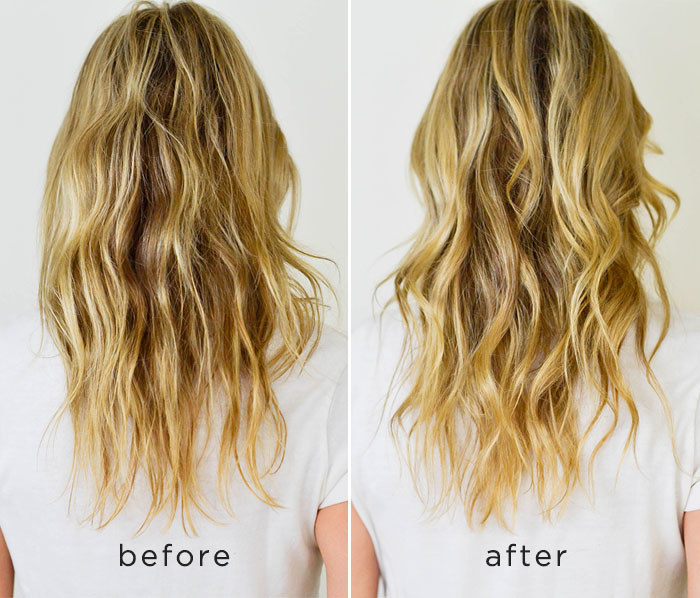 model showing before and after of their hair with the after being softer more defined waves