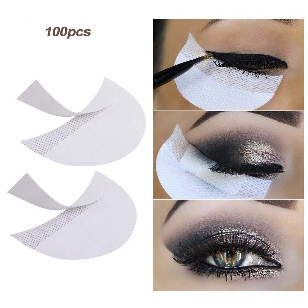 one side shows three shadow patches which are shaped like half-circles and the other side shows a model holding the patches up to her eye to apply liner