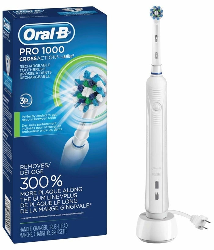 """Check out our full review for the Oral-B Pro 1000 on BuzzFeed Reviews!Promising review: """"Now that I've realized the difference between 'sonic' and 'oscillating' toothbrushes, I am a true believer in the latter. I disliked the sensation that a sonic brush produced on my teeth, AND I find the round brush head on this product much better at getting those back molars clean. Yes, it's true the oscillating brush is noisier than a sonic, but who cares? This brush, in my humble opinion, is SO MUCH better."""" —GreenEggsnHamPrice: $49.94 (available in three styles)"""