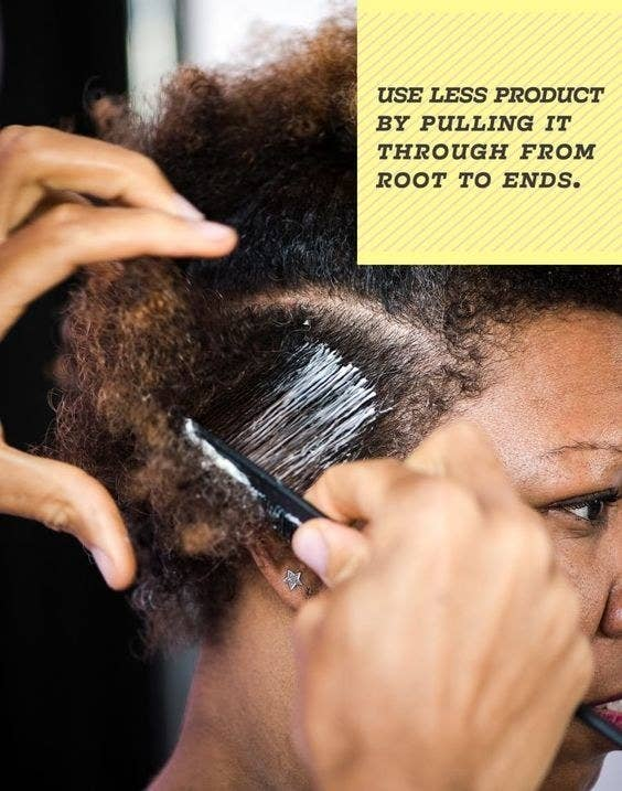 """model with curly hair getting mask combed through their hair with text """"use less product by pulling it through from root to ends."""" text overlaid"""