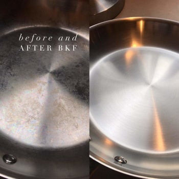 a photo set displaying a pan before and after being cleaned with the soft cleanser