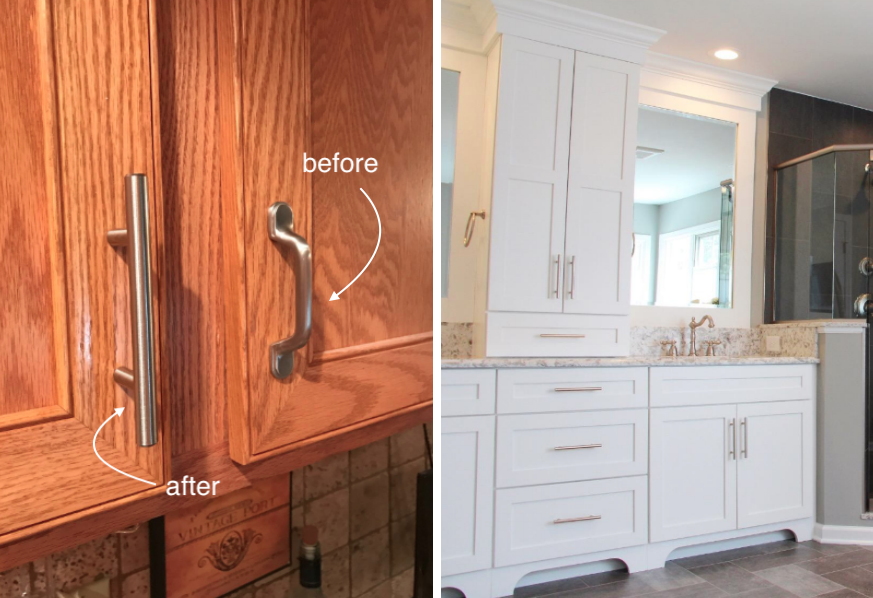 On the left: a double cabinet with the bar handle on the left door and the original handle on the right door. On the right: a master bathroom with white cabinets and drawers that all have the bar handles
