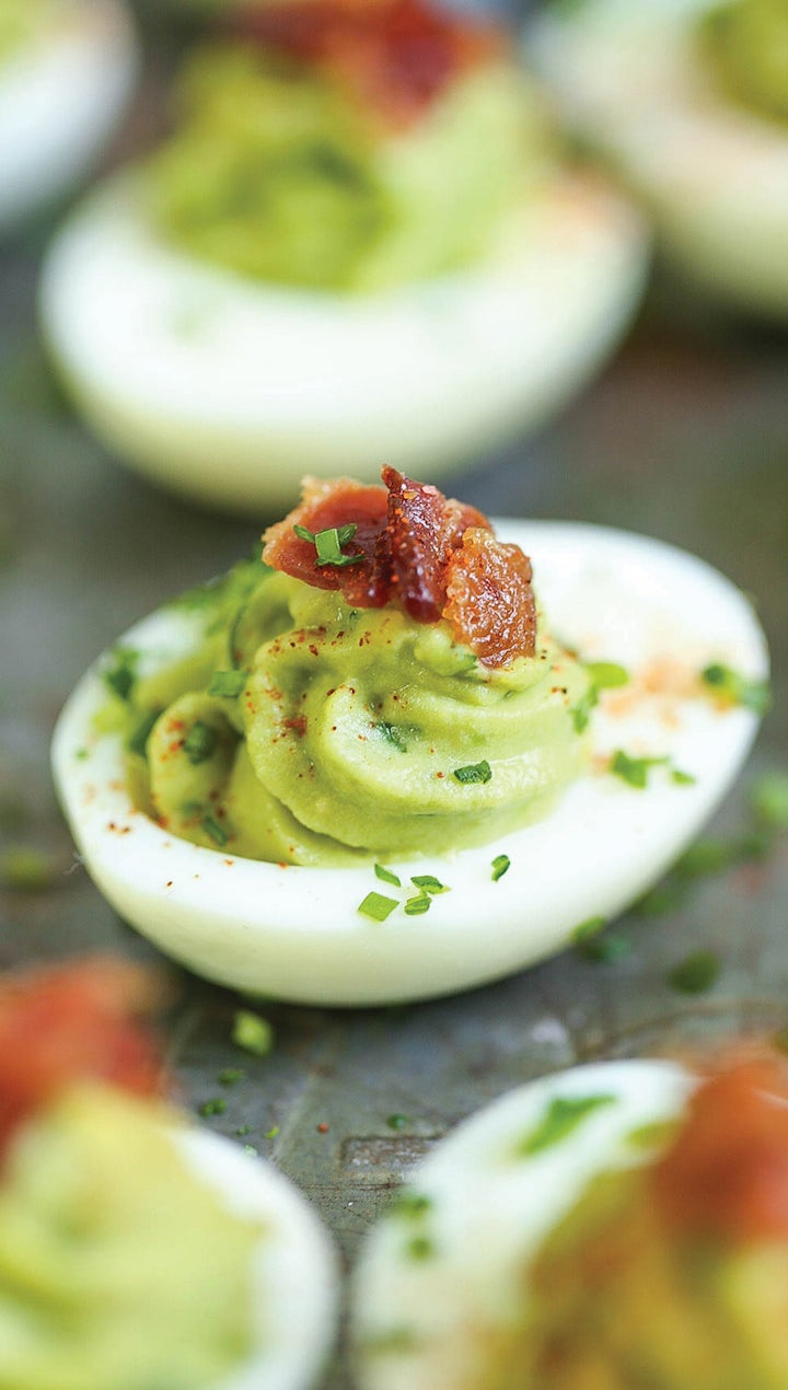 These lightened-up deviled eggs call for avocado in lieu of mayonnaise. You can save lots of time by hard boiling the eggs at the beginning of the week. Get the recipe here.