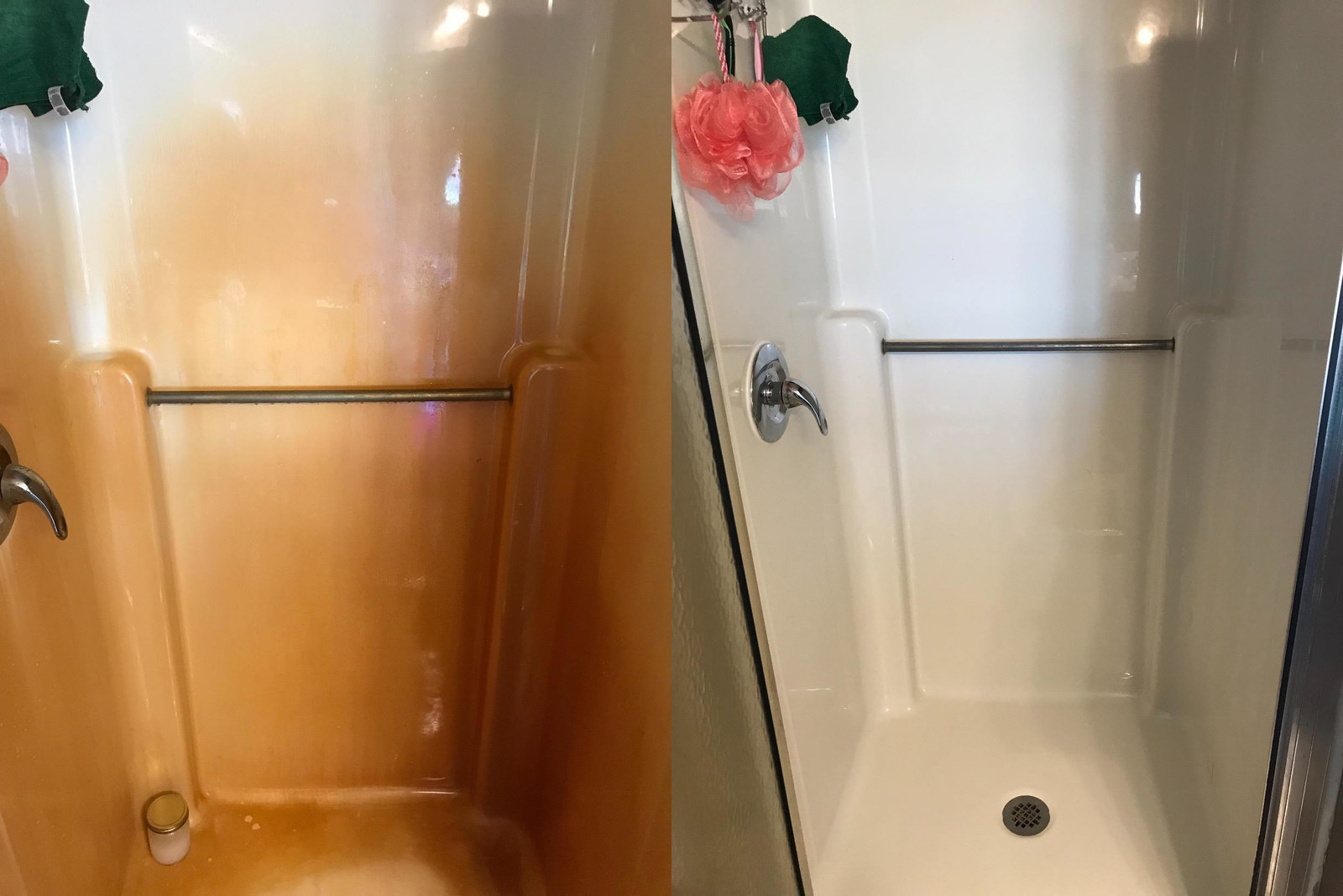 a photo set displaying a shower before and after being cleaned with the spray-on gel