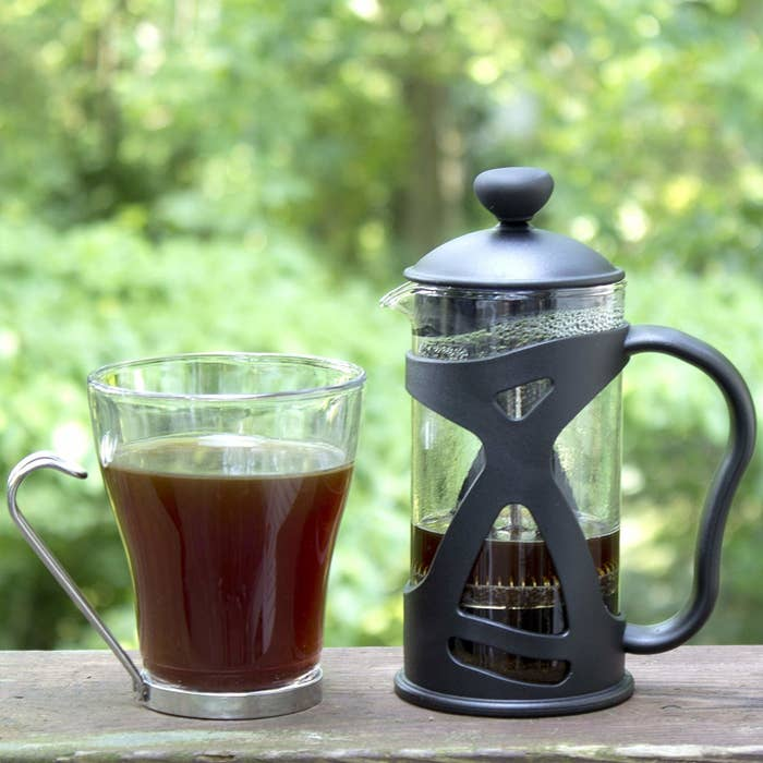 Glass French Press with handle and plastic covered protective case