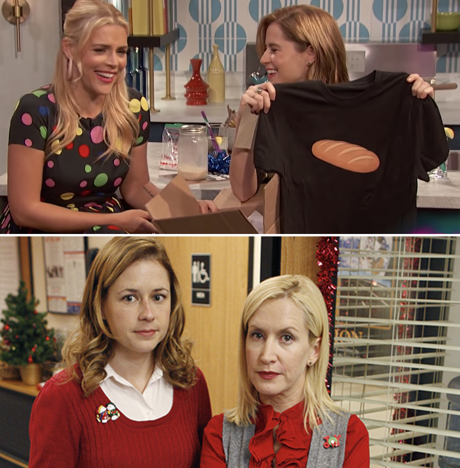 Jenna's BFF Angela Kinsey  sent her a shirt with a loaf of bread on it — Jenna has become super-obsessed with baking bread, which  she documents on her Instagram .