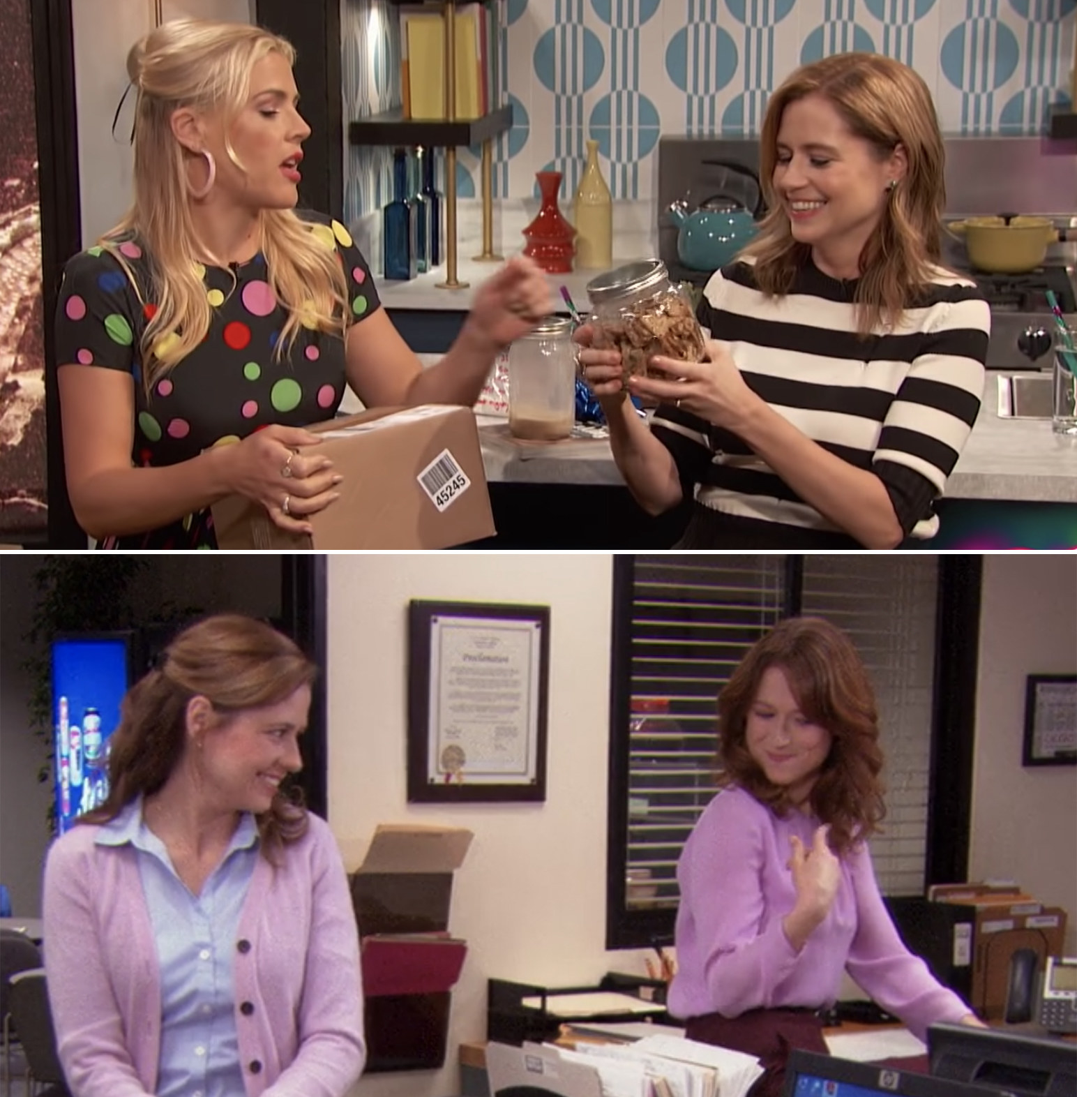 First, Jenna opened a box of raisin crisps from Ellie Kemper and said that she and Ellie ate several boxes while filming an episode of  The Office  once.