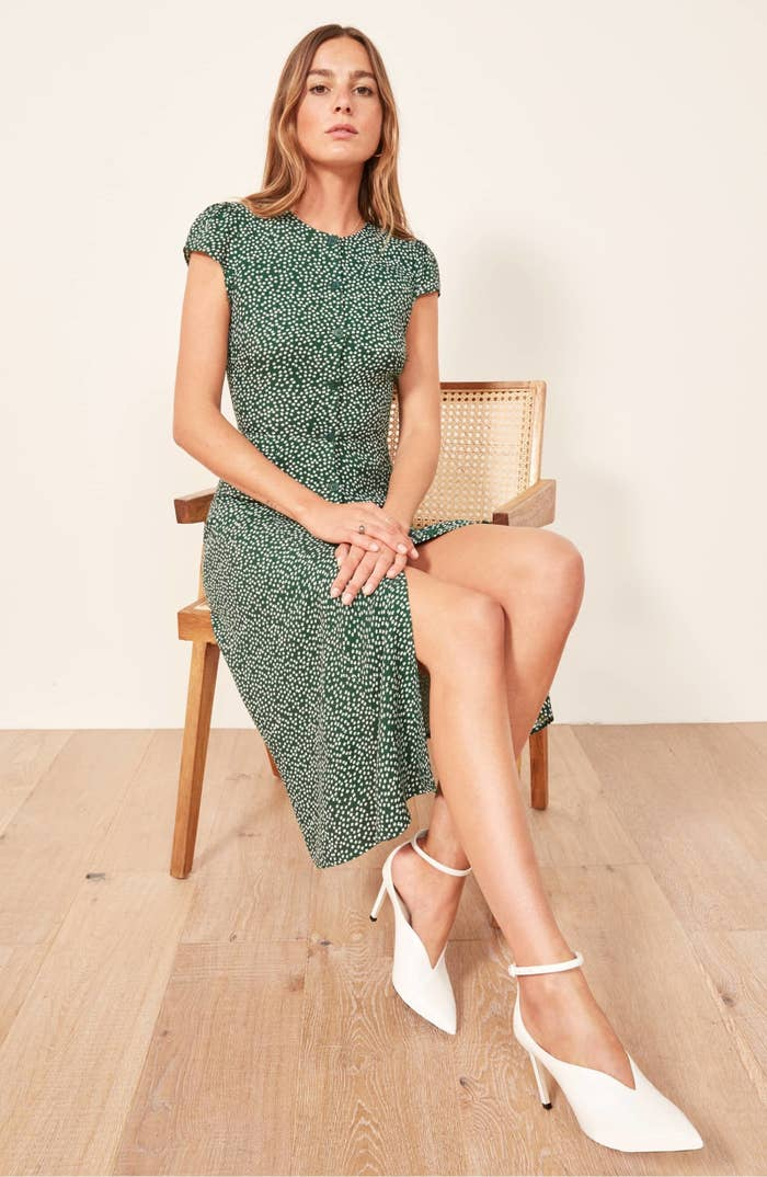 c16461cbc153 A tiny dotted green dress to round out your spring-ready wardrobe.