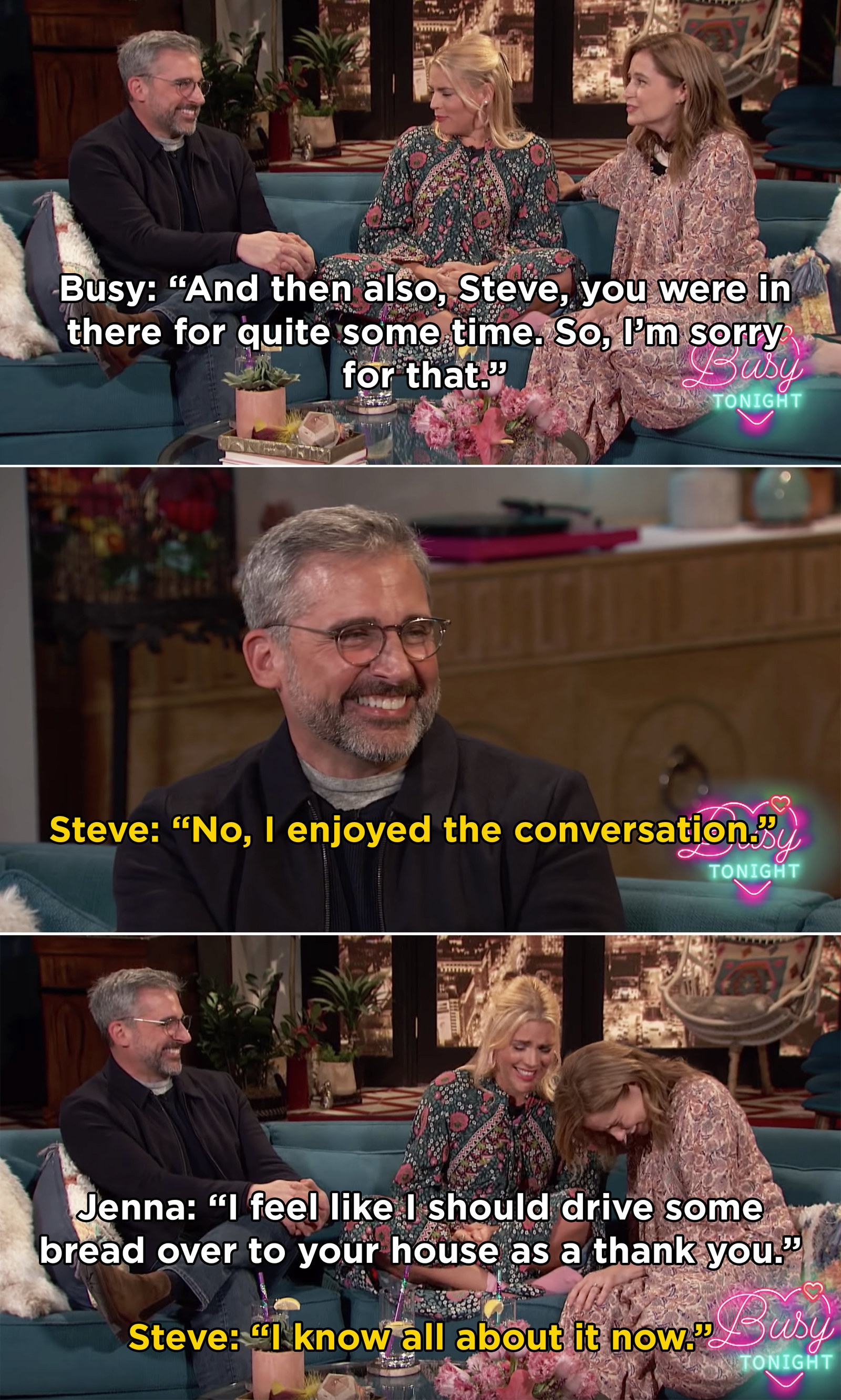 Also, Steve was crouched in that box for a heck of a long time while Busy and Jenna were chatting, which is hysterical.