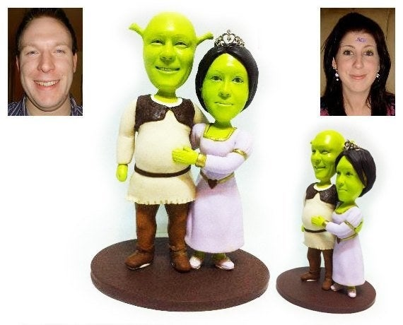 """Promising review: """"We got a customized Shrek cake topper and it is perfection!! It is definitely our favorite little funny detail to our wedding and will be on display in our home after. The process was wonderful and Amy checked in each step of the way. Would recommend to anyone!!"""" —Julia DrozdGet it from UniqueCakeToppers on Etsy for $184.96."""
