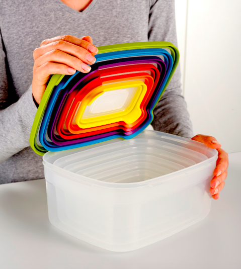 """They also might even encourage you to meal prep and stop spending so much money on buying lunch. Promising review: """"I love this whole nest storage of container sets. All of the lids nest into each other and then the largest one covers all the containers. It's so easy and so convenient! I always have the right lids with the right containers. AND there is a dot of the color on the bottom of the container and that is the color of that particular container! I highly recommend this set."""" —Verified PurchaserGet it from Walmart for $39.95."""
