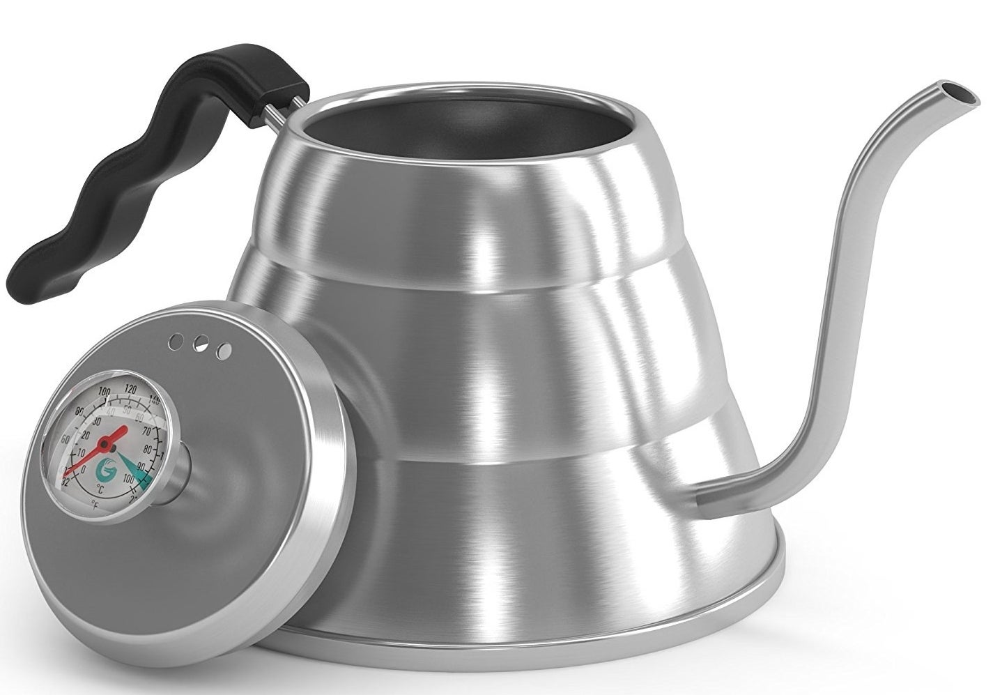 a stainless steel kettle with a thin, curved spout and a lid with a thermometer in it