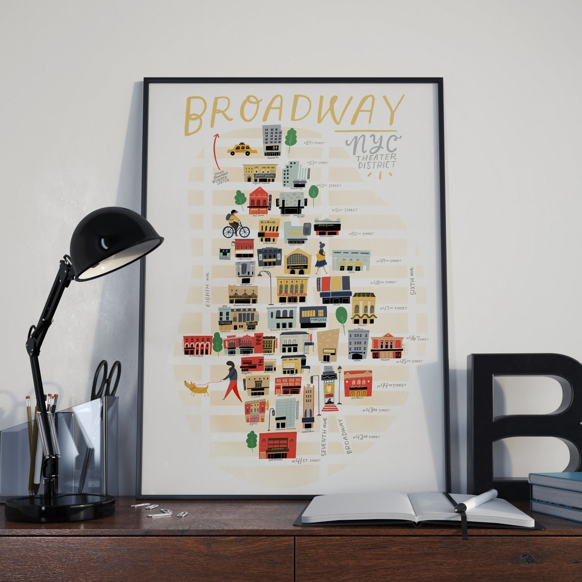 A rectangle print with an illustrated map of buildings in new york city