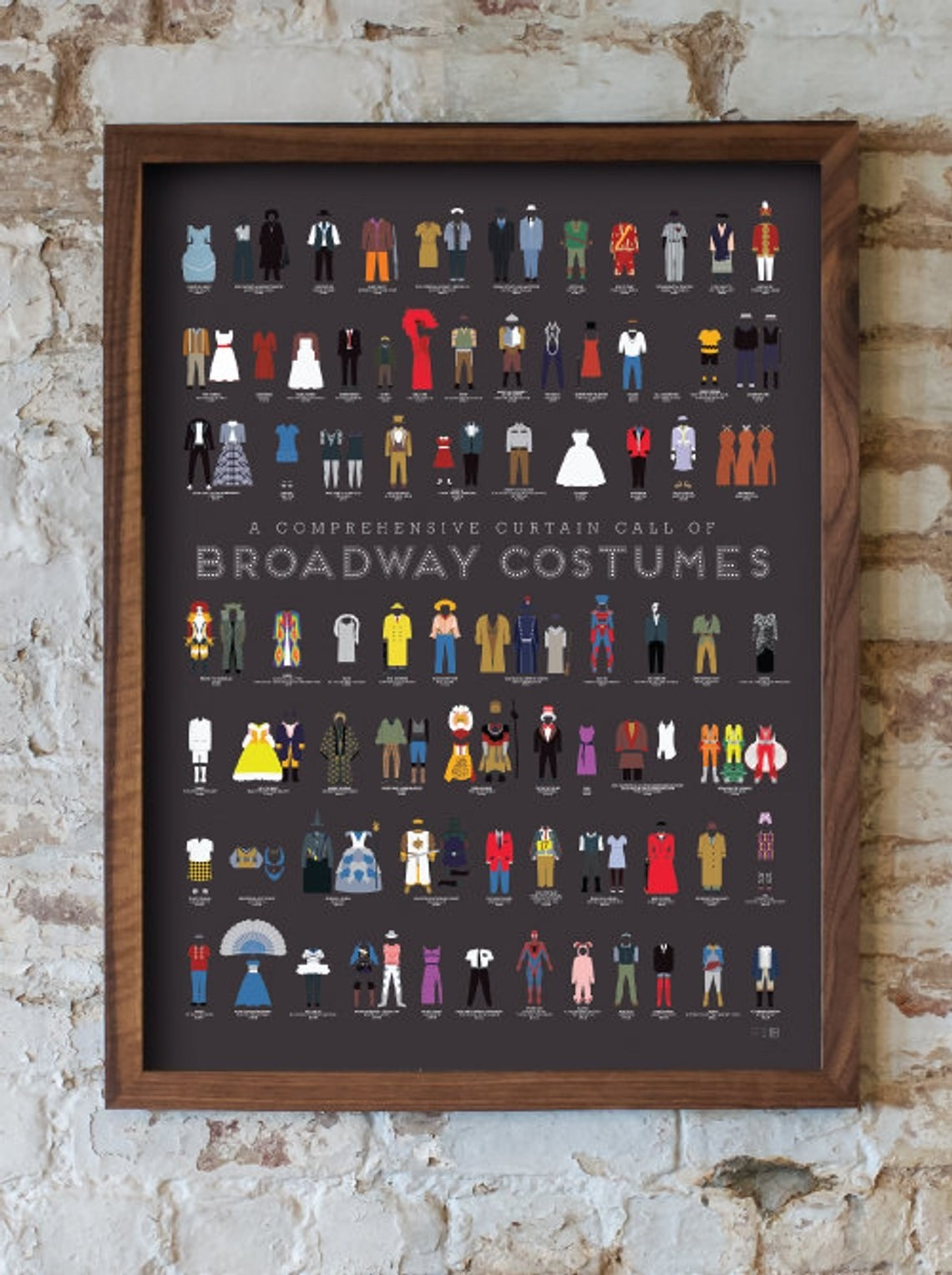 Rectangle poster with dark grey background and illustrations of costumes in lines all over it