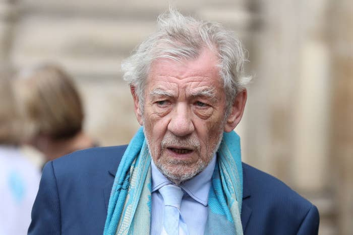 Actor Ian McKellen leaves from Westminster Abbey in central London on September 11, 2018, after attending a service of thanksgiving for the late English theatre, opera and film director, Peter Hall. - British director Peter Hall, who founded the Royal Shakespeare Company in 1960 and was credited with the boom of post-war British theatre, died at the age of 86, on September 11, 2017. (Photo by Daniel LEAL-OLIVAS / AFP) (Photo credit should read DANIEL LEAL-OLIVAS/AFP/Getty Images)