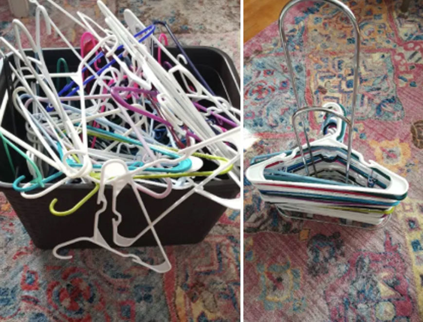 a before photo of a stack of hangers messy in a bin and an after photo of hangers stacked neatly on the rack