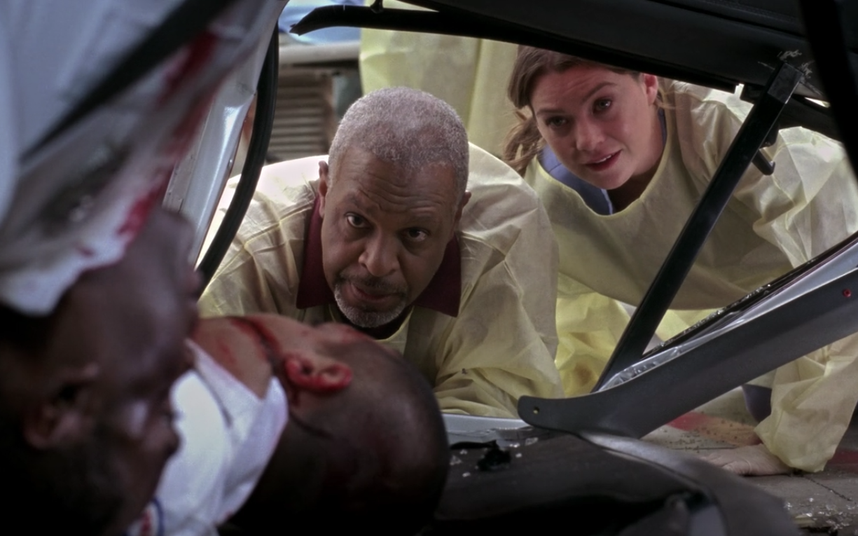 This episode was a clusterFUCK if there ever was one. All the docs were running around, trying to save the lives of EMTs after a deadly ambulance crash, and Meredith did her best to save partners Ray and Stan. I'm choking up just remembering when Stan told Ray to tell his wife that he loved her, 'cause he knew he wasn't going to make it. And THEN Stan had to stay in the overturned ambulance next to his dead best friend as Meredith tried to save his life — which she did! Also saved that day? My heart from further turmoil. Appears in: Season 4, Episodes 9 and 10