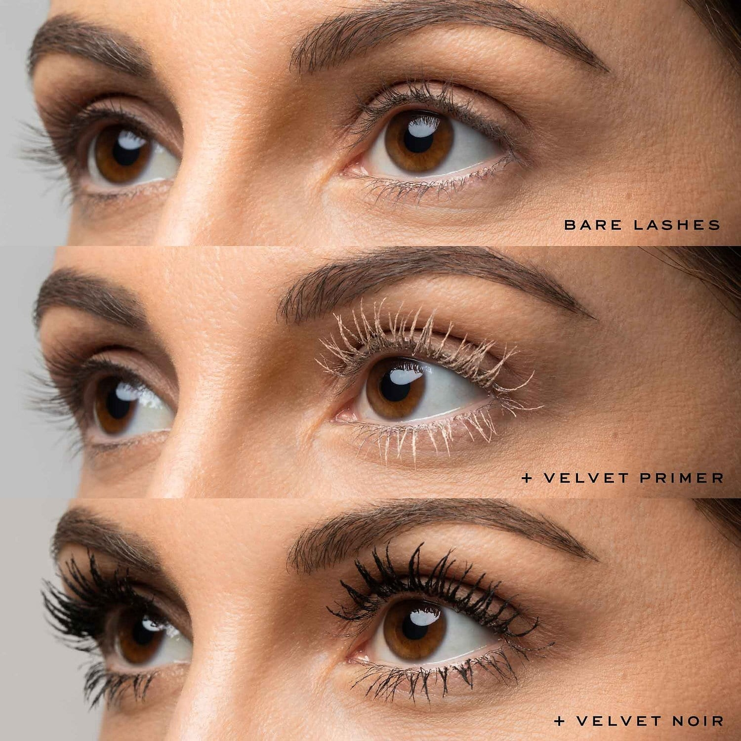 Three images of a person without mascara on their lashes, with primer on their lashes, and with mascara on their lashes