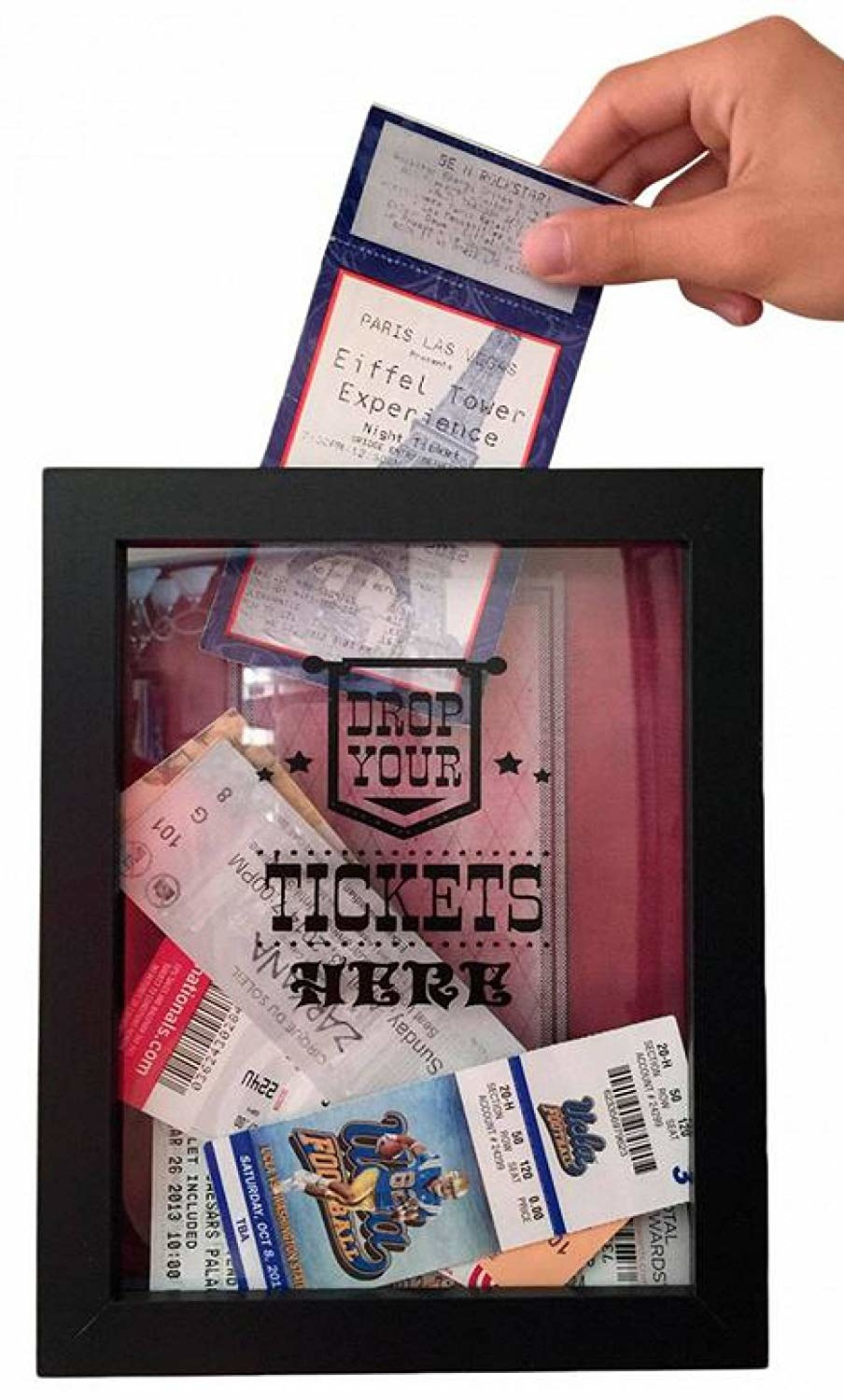 "Black frame with a decal that says ""Drop Your Tickets Here"" with an assortment of tickets inside"