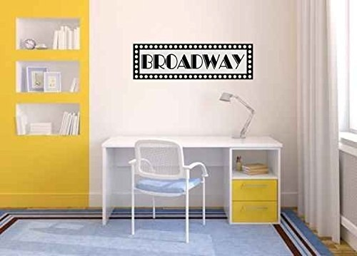 Rectangle decal that says broadway and has marquee-light lights around it