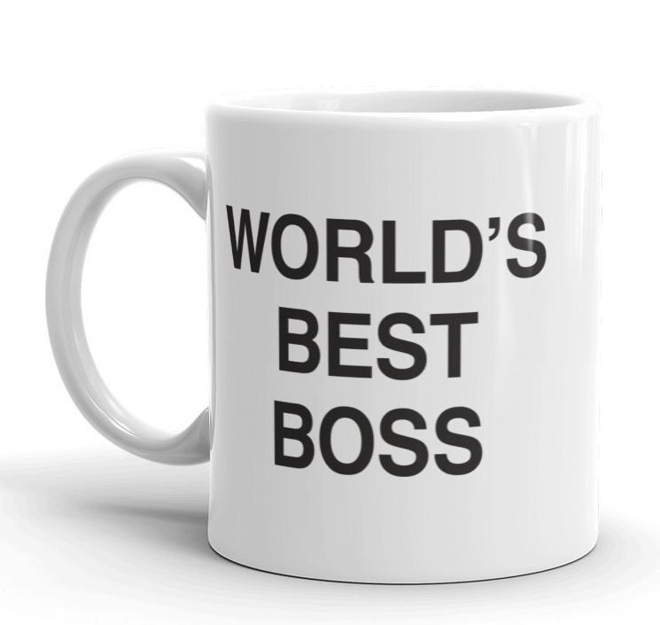 "white mug with black letters reading :""world's best boss"" from the show The Office"