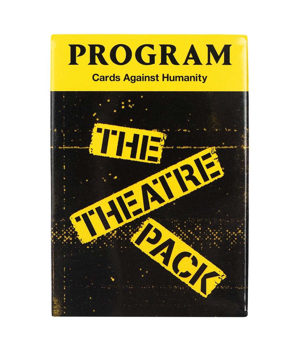 "The card box that looks like a Playbill cover with the words ""The Theater Pack"" in yellow on the front"