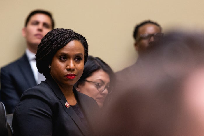Rep. Ayanna Pressley listens as Michael Cohen testifies before the House Oversight Committee on Capitol Hill on Feb. 27.