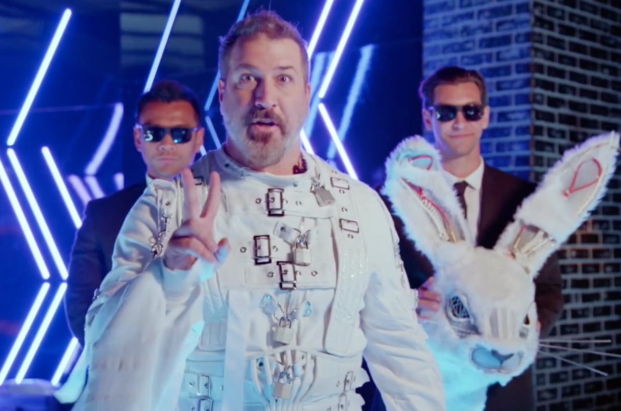 """Joey Fatone was Rabbit - Biggest clue revealed:  Any NSYNC fan could tell you on the first night that he was paying homage to the band's """"I Drive Myself Crazy"""" music video with his straight-jacket and head twitch. Oh, and his singing voice sounded exactly like Joey's."""