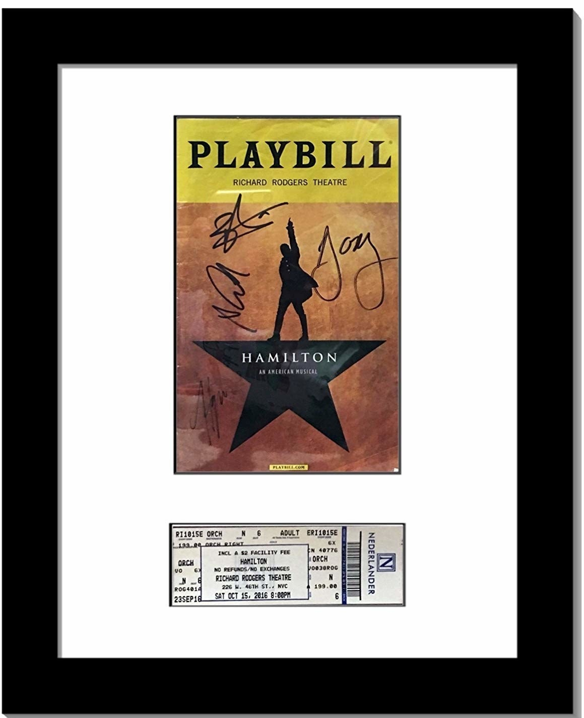 Black frame with white matting and a space for a rectangle Playbill and rectangle ticket below