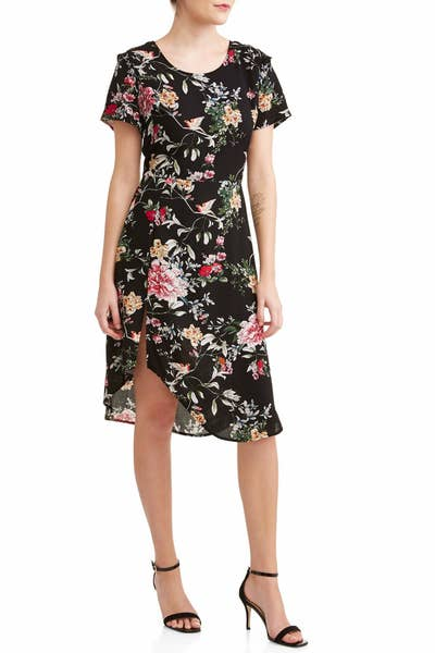 59cf2ad91a A flower-and-bird print dress to have you looking fly. Walmart