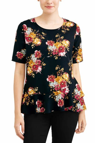 a6b3eae06f A polished peplum top that d look equally cute with jeans on the weekend or  dress pants for the office. Walmart