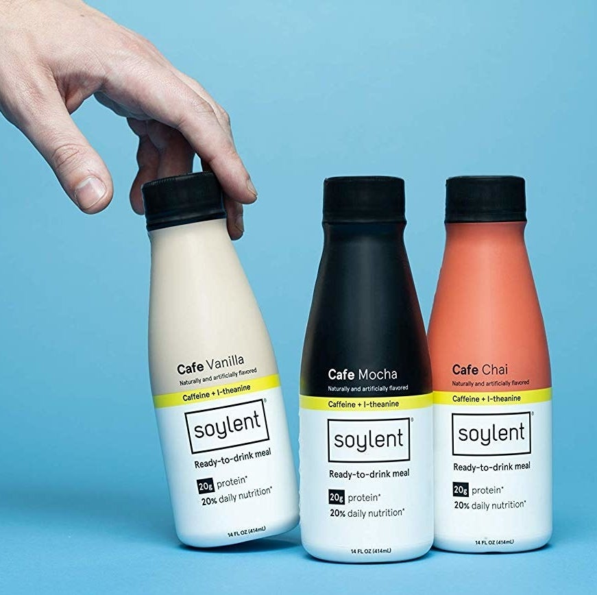 "Soylent is a meal replacement drink. The selections in the cafe variety pack each have 400 calories of nutrition, 20 grams of protein, and the caffeine of a strong cup of coffee.Promising review: ""I work full time, and I'm a full time student — it's hard to find time to eat a decent meal, especially before a 9am lecture, so I end up losing focus quickly because I'm still groggy and hungry. The Coffiest flavor has been my savior. I like drinking this in the morning on my way to class, and it's really made a difference. I guess the taste takes a little getting used to? It's not bad at all, no chalky flavor. It had a weird aftertaste at first, but it didn't bother me. I kept taking small sips throughout the morning, and by the time I was halfway through the bottle, I had actually come to really enjoy the flavor. It keeps me full until the afternoon, and it's been good for my overall diet and wallet. I'm definitely going to order these on the regular — it's a good investment."" —Giselle AlamonteGet a 12-count variety pack from Amazon for $42."