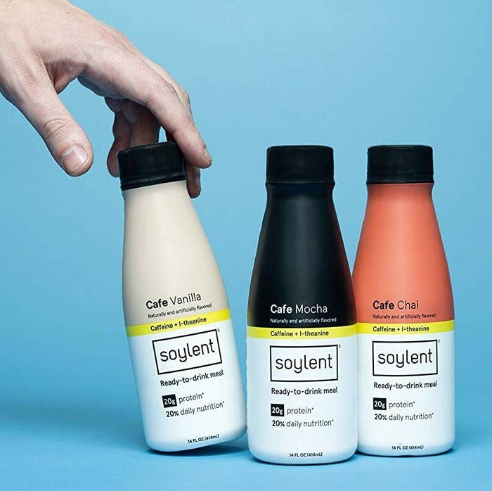 """Soylent is a meal replacement drink. The selections in the cafe variety pack each have 400 calories of nutrition, 20 grams of protein, and the caffeine of a strong cup of coffee.Promising review: """"I work full time, and I'm a full time student — it's hard to find time to eat a decent meal, especially before a 9am lecture, so I end up losing focus quickly because I'm still groggy and hungry. The Coffiest flavor has been my savior. I like drinking this in the morning on my way to class, and it's really made a difference. I guess the taste takes a little getting used to? It's not bad at all, no chalky flavor. It had a weird aftertaste at first, but it didn't bother me. I kept taking small sips throughout the morning, and by the time I was halfway through the bottle, I had actually come to really enjoy the flavor. It keeps me full until the afternoon, and it's been good for my overall diet and wallet. I'm definitely going to order these on the regular — it's a good investment."""" —Giselle AlamonteGet a 12-count variety pack from Amazon for $42."""