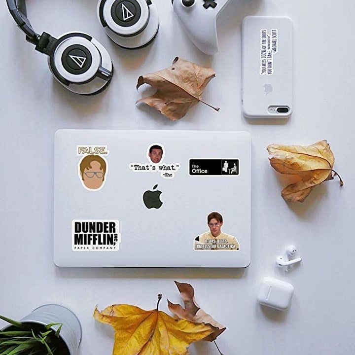 computer laptop with stickers applied