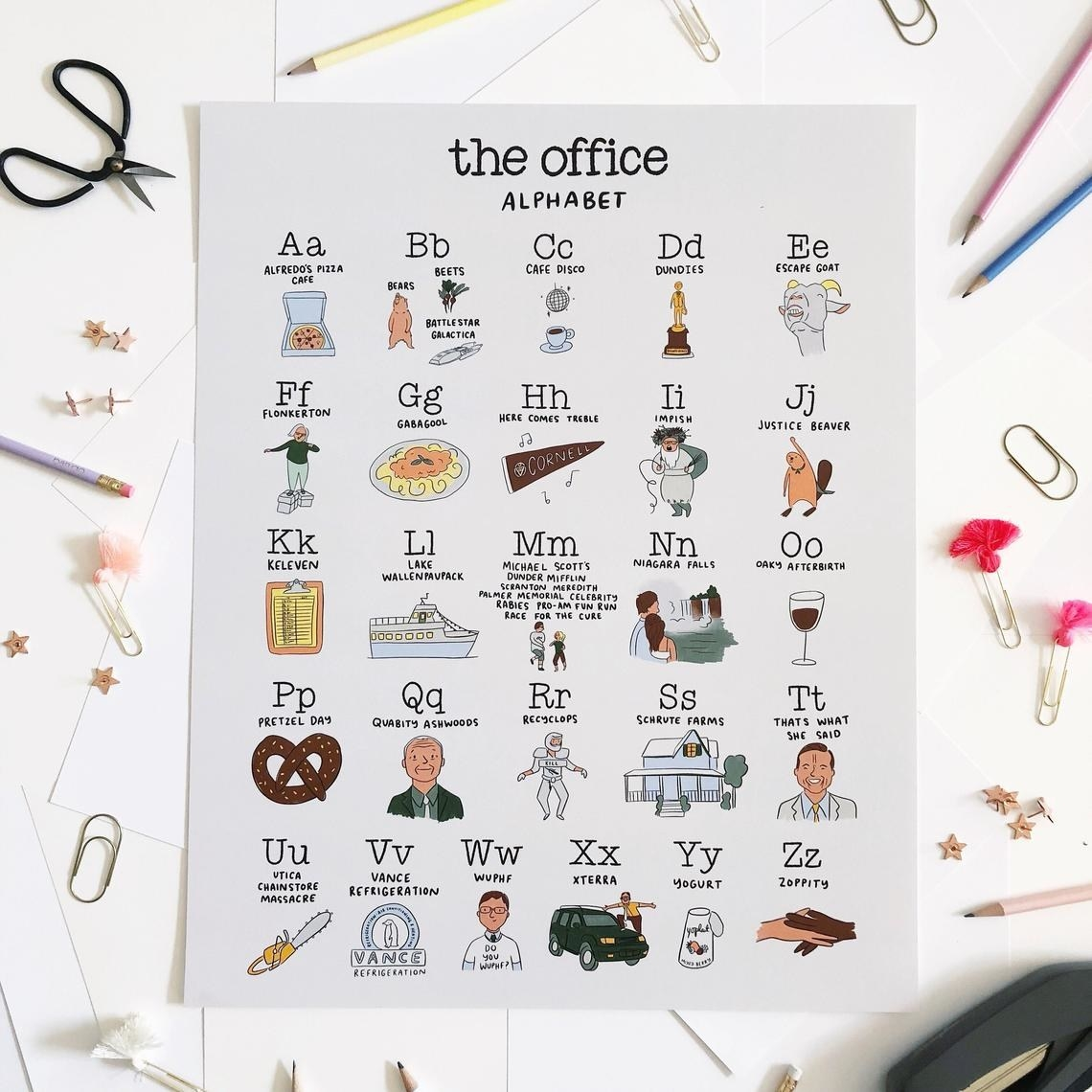 """illustrated poster with different notable things from """"The Office"""""""