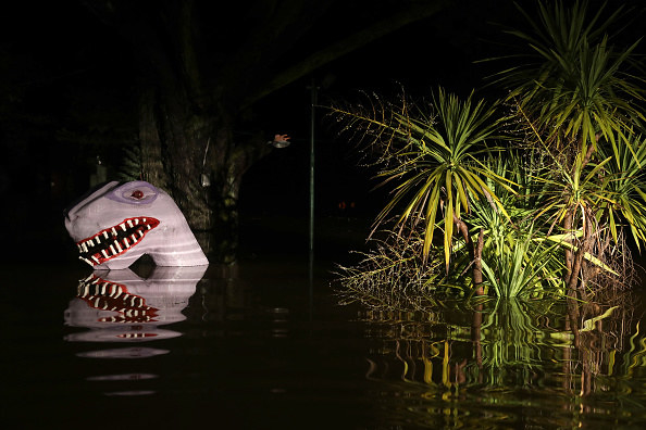 Playland Miniature Golf course in Guerneville, California, is enveloped in flood waters before dawn from the rising Russian River flood.