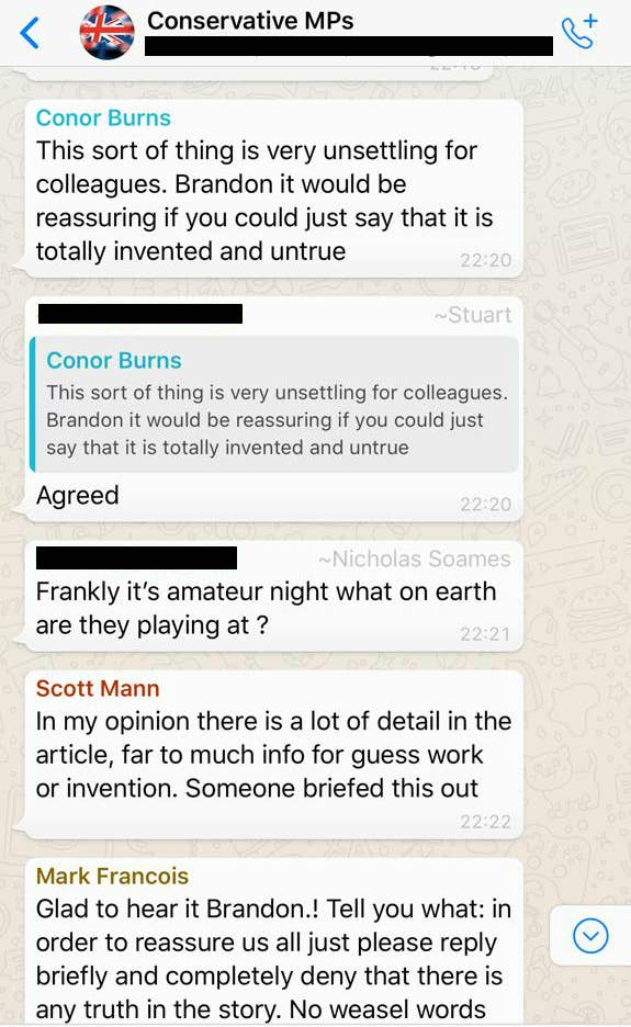 Tory MPs Are Absolutely Losing It On WhatsApp At The Idea Of