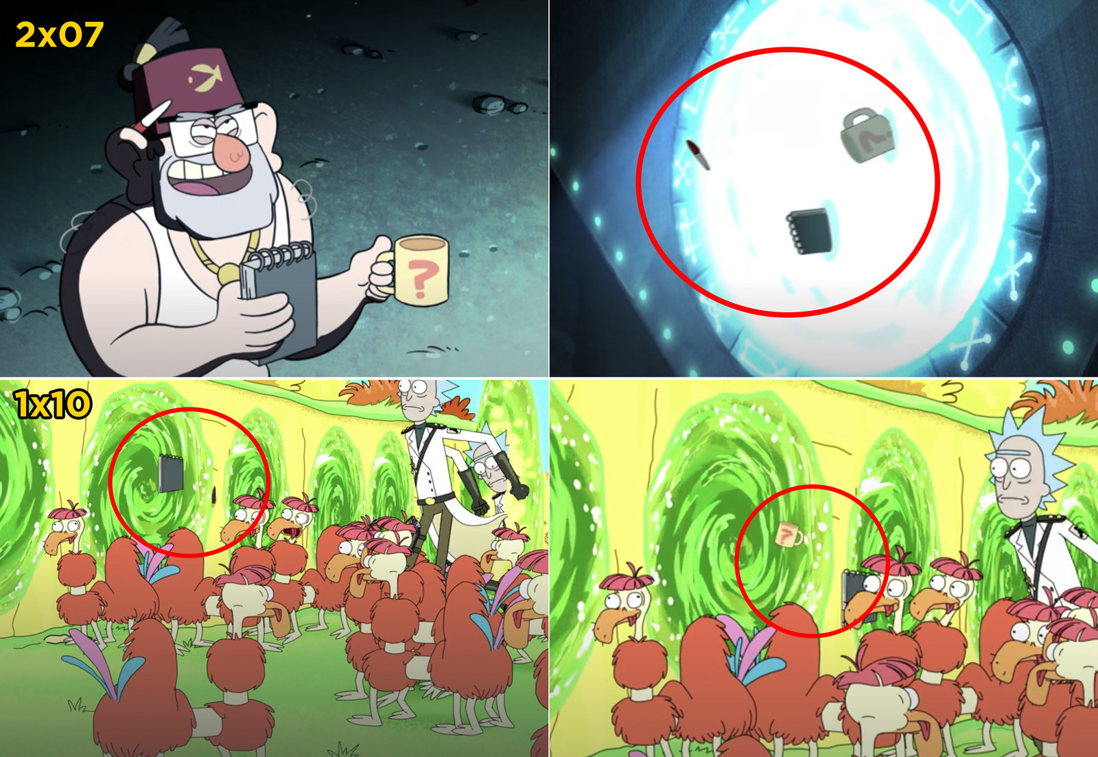 And finally, in an episode of  Gravity Falls , Grunkle Stan's mug, notebook, and pen get sucked into an open portal. Later, in a  Rick and Morty  episode, you can see those  same objects  fly out of a portal Rick opens.