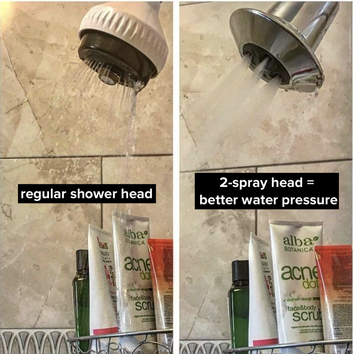 """Promising review: """"I'm amazed! We live in a prewar New York City apartment and it seemed that poor water pressure in the shower that barely extended beyond the wall was par for the course. We just installed this shower head and now the water stream extends to the other side of the tub! Looking forward to finally taking a satisfying shower after all this time."""" —TWNYCGet it from Amazon for $21.99.Read our full write-up and learn more about this life-changing bathroom addition."""